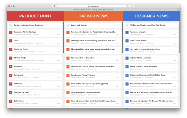the news 2 ob dnu novini z hacker news designer news product hunt 1 - The News 2 об'єднує новини з Hacker News, Designer News і Product Hunt